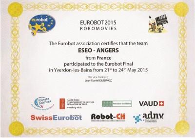 Nous sommes 9e de la Coupe d'Europe de Robotique 2015 !